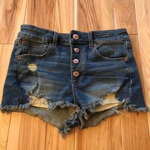 American Eagle Hi Rise Shortie Button Fly Shorts